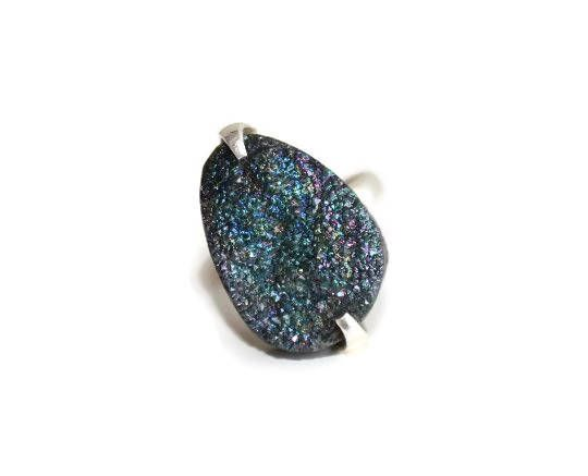 Titanium Rainbow Druzy Ring. Natural Agate Druzy Cabochon Ring. 925 Sterling Silver Ring by MilenasBoutique on Etsy