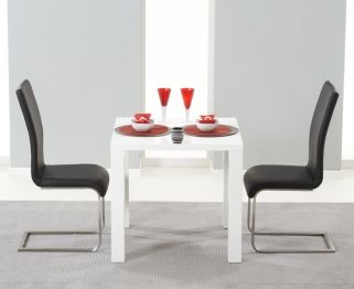 Hereford White High Gloss Dining Set - with 2 Black Malibu Chairs