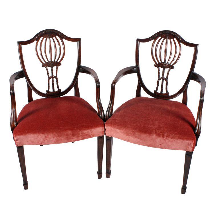 Pair of Hepplewhite Arm Chairs