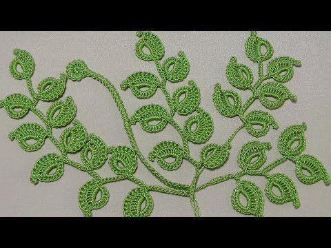 Урок вязания крючком. КАК ВЯЗАТЬ ВЕТОЧКУ ЛИСТИКОВ.Ирландское кружево. Irish lace. - YouTube