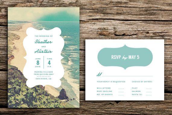Tranquil Beach Wedding Invitation Set // Destination Wedding Invitation Vintage Beach Wedding Playa California Florida Oregon