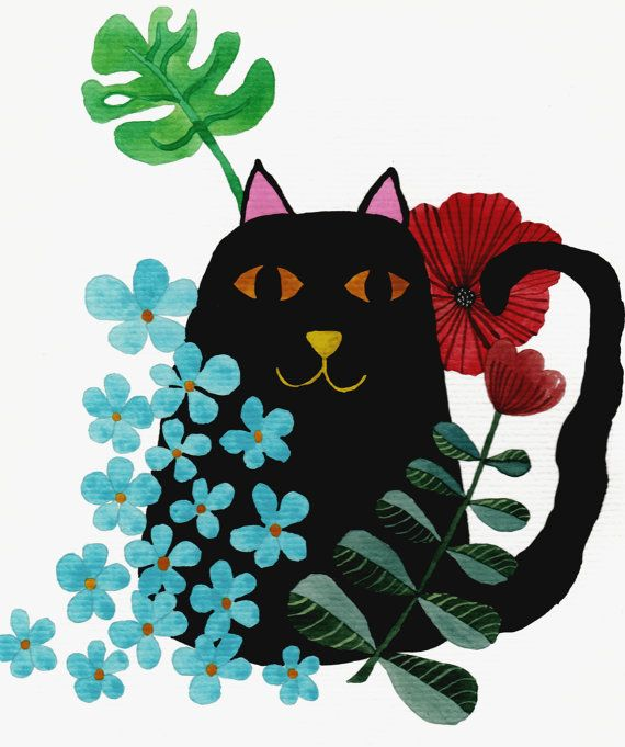 Black Cat Botanical Illustration  Black Cat  by DeliaSopcaArt