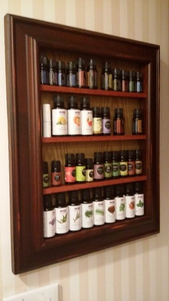 DIY Up-cycle picture frame shelf for holding essential oils, spices, etc