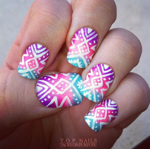 Tropical Tribal Nail Art. If only I could do this with my nail pen without creating a big white blob... :)