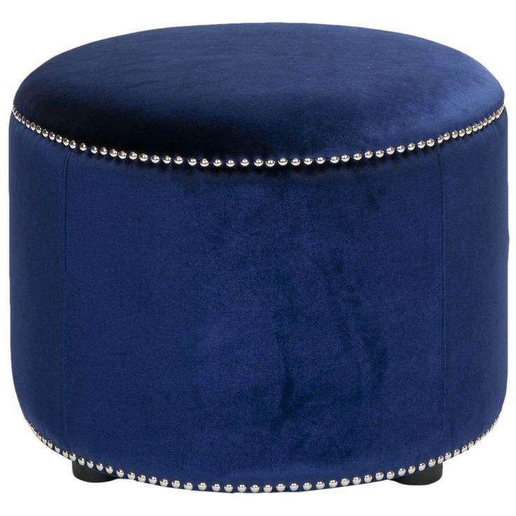 """Safavieh Florentine Royal Blue Velvet Round Ottoman, $105.70 from $144.99, *Nickel nailheads, solid beech wood  frame, crushed velvet, (18""""H x 24""""W x24""""D) ship weight: 10 lbs"""