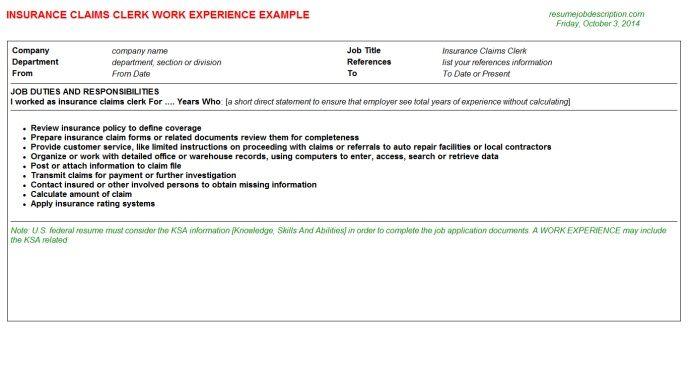 Insurance Claims Clerk Work Resume Sample - http://jobresumesample.com/201/insurance-claims-clerk-work-resume-sample/