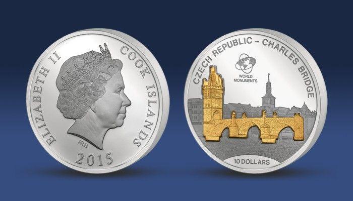Karlův most - stříbrná mince v 3D provedení. Stříbrná plastika Karlova mostu je zušlechtěna ryzím zlatem!