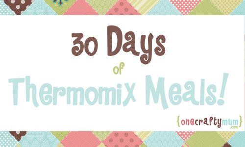 30 Days of Thermomix Meals: Meal planning has been working fabulously for my household but it's becoming a bit of a chore to sit down once a week and find something new to add to the list which prompted me to start this list of one month's worth of Thermomix meals (mostly made up of my previous meal plans). This meal plan is designed to help you so feel free to mix it up. If you're feeling super-duper organised and you have the time, you could even cook many of these dishes and freeze them.