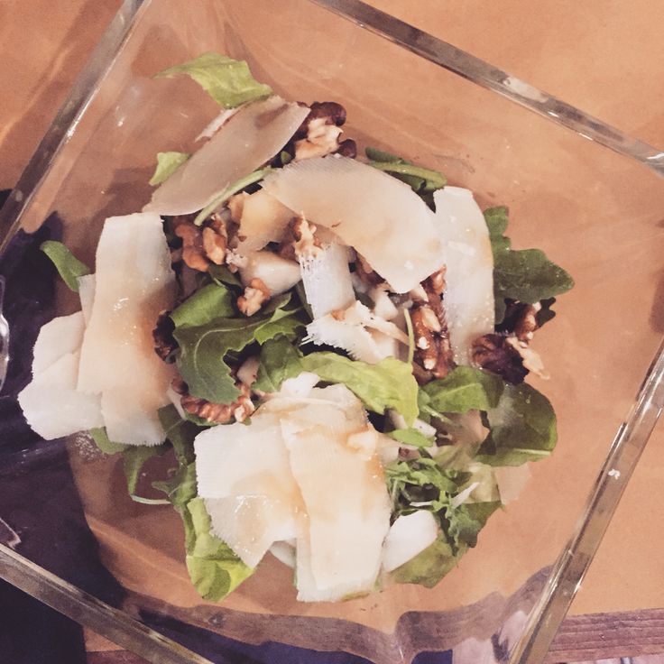 Green Salad, pears, parmisan cheese.