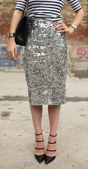 Hello, sparkle! Mix your sequins with classic stripes for a chic holiday look.
