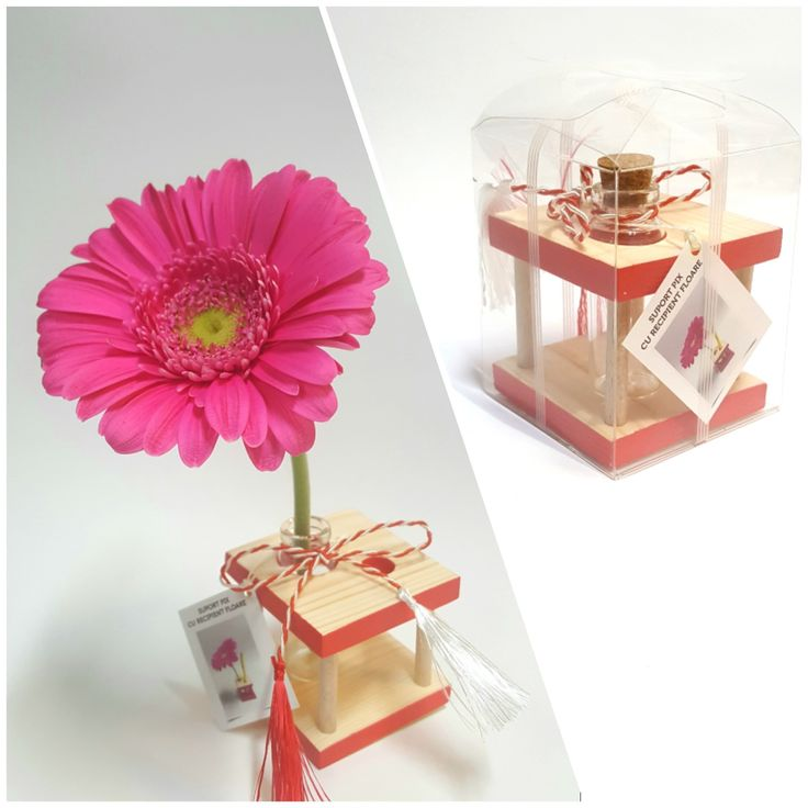 Pen holder with flower container RED