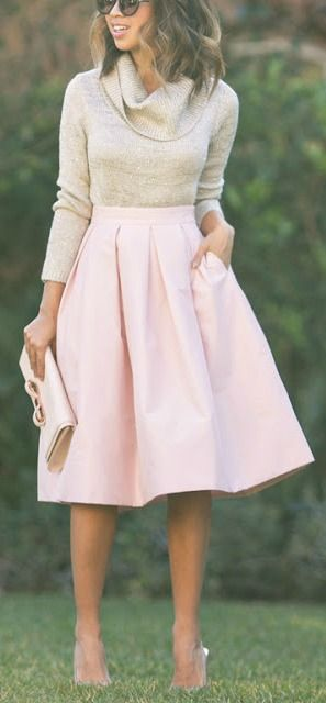 Blush pink midi skirt.