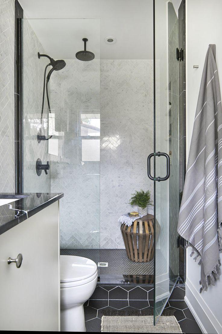 Matte Black Shower Faucet Black Hexagon Floor Tile Glass