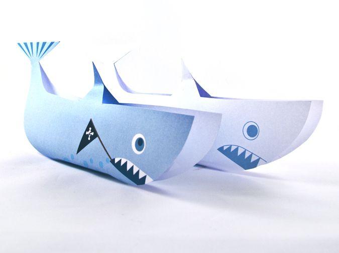 haai Piraat traktatie topper printbaar knipvel