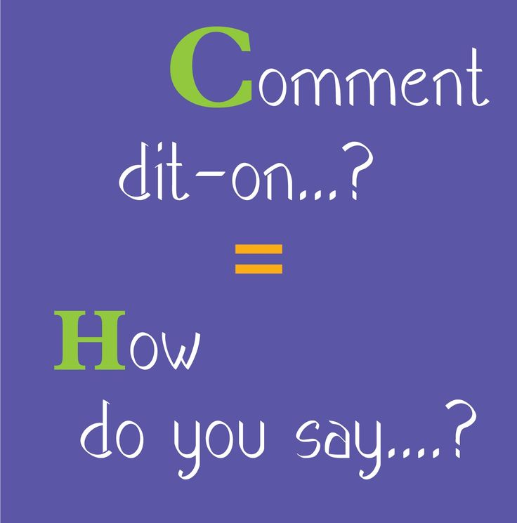 the one phrase you must know! how do you say...? = comment dit-on...?