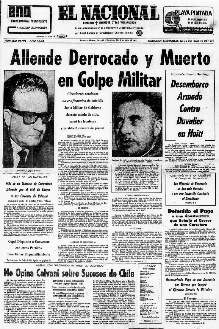 El Nacional (Venezuela) - 11 de septiembre de 1973. Allende derrocado y muerto en Golpe Militar.