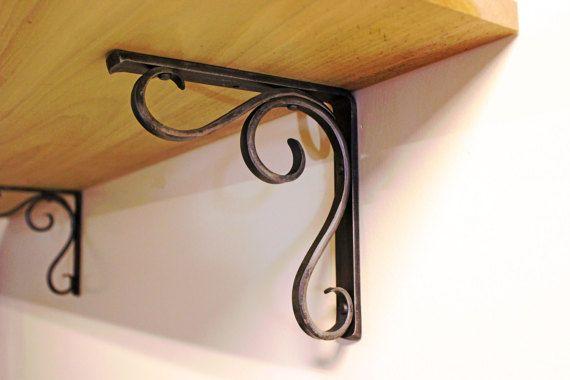 Forged Metal Shelf Bracket  Hammered Scroll by ArtisansoftheAnvil