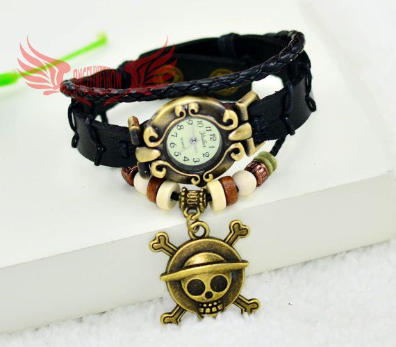 Steampunk wrist watch,Anime one piece wrist watch with leater bacelet chain,ancient bronze Anime One piece charms braclet