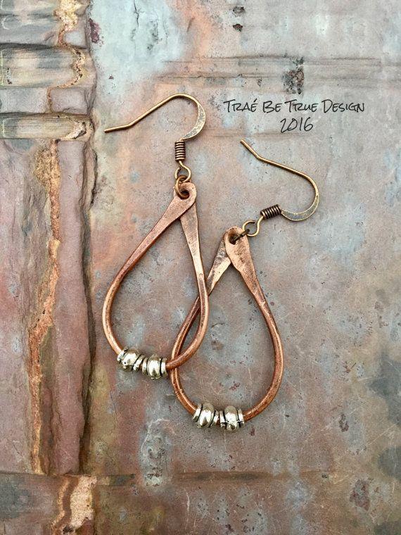 Copper Hoop Earrings Handmade by Traebetruedesign on Etsy