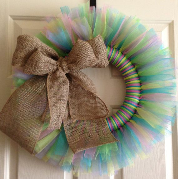 Burlap Spring Decorative Wreath.  Love the idea of tulle and burlap! Needs some tweaking though