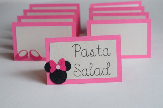 Food Labels  Minnie Mouse Food Tents  Set of by PaperCreationsLC