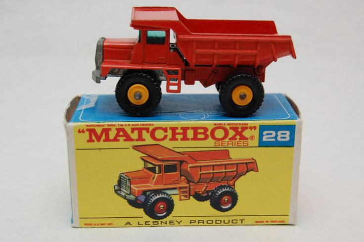 No.28 Mack Dump Truck Yellow Hubs w/Original Box by Matchbox Lesney England 60's toy Car Great Gift Idea Stocking Stuffer  for Dad by RememberWhenToys on Etsy