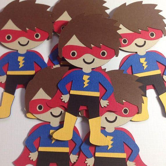 Superhero Paper Embellishment Super Hero by QuirkyOwlDesigns