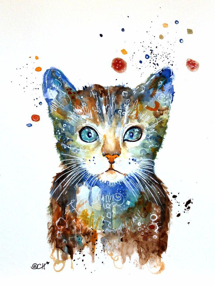 Kleine #Katze als #Aquarell von Clarissa Hagenmeyer www.clarissa-hagenmeyer.de