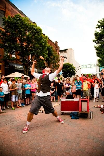 Kobbler Jay performing on Victoria Row in Charlottetown PEI