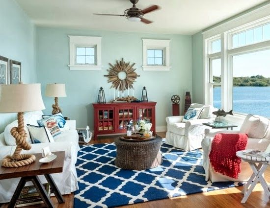 A Casual Living Room with lots of Nautical Decorations to Love -Shop the Look