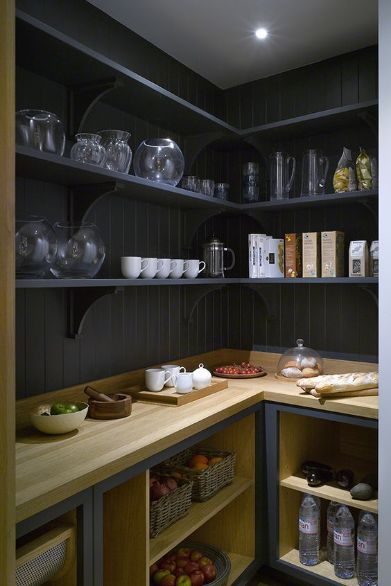 pantry bench space for appliances, open shelving... no cupboard doors