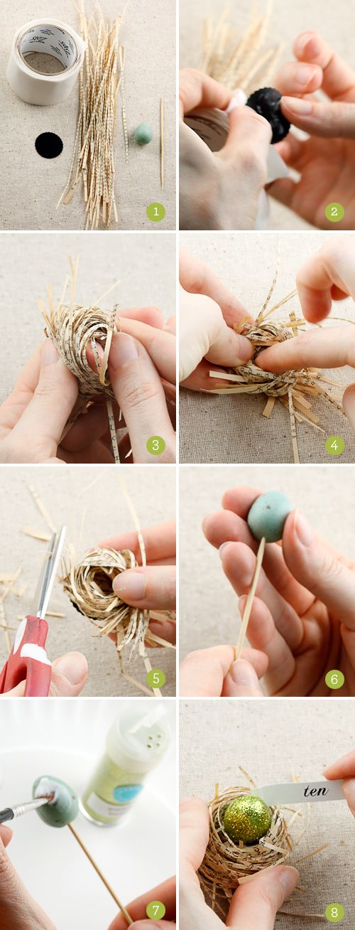 How to Make Book Page Bird Nests with Glittered Eggs  Recycle weeded, unsellable books to make decoartions for Library.  Make Christmas ornaments