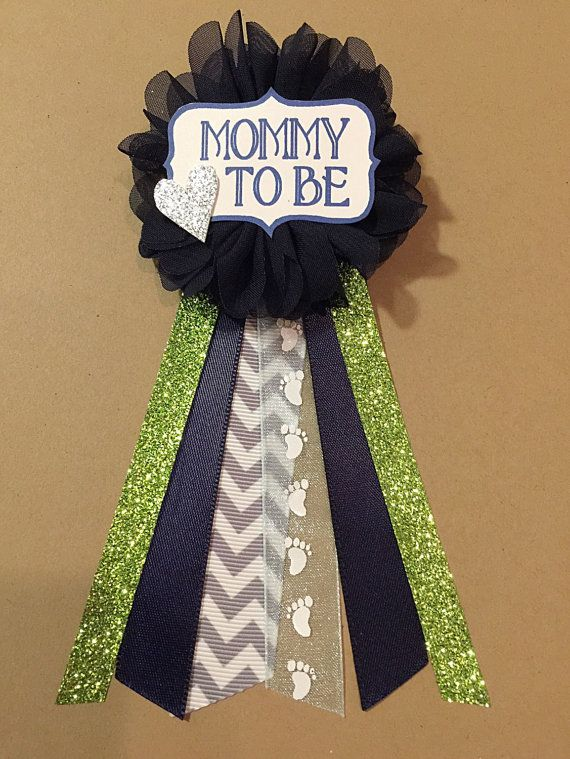 Gray Chevron Navy Baby Shower Mommy-to-be Flower by afalasca