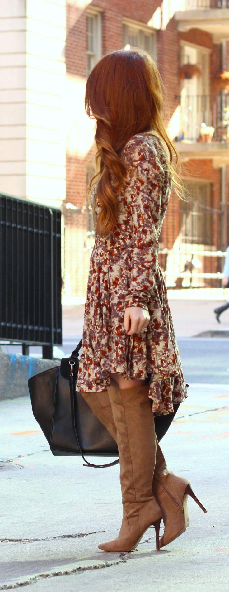 Boho dress + over the knee boots
