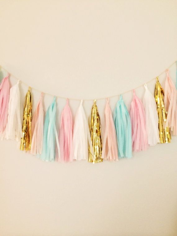 Pink Mint and Gold Tassel Garland  Party Decor by BlushBazaar, $28.00