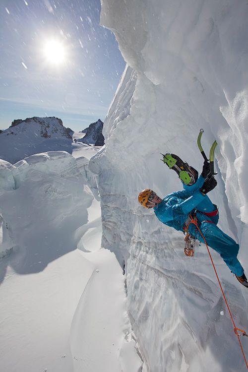 Tim Emmett in training for Spray On- Serac climbing in Chamonix