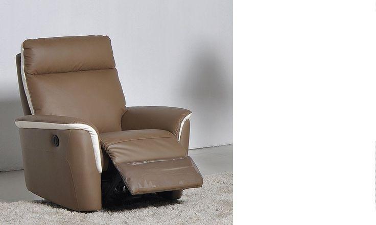 Fauteuil relax électrique en cuir taupe et blanc COOK