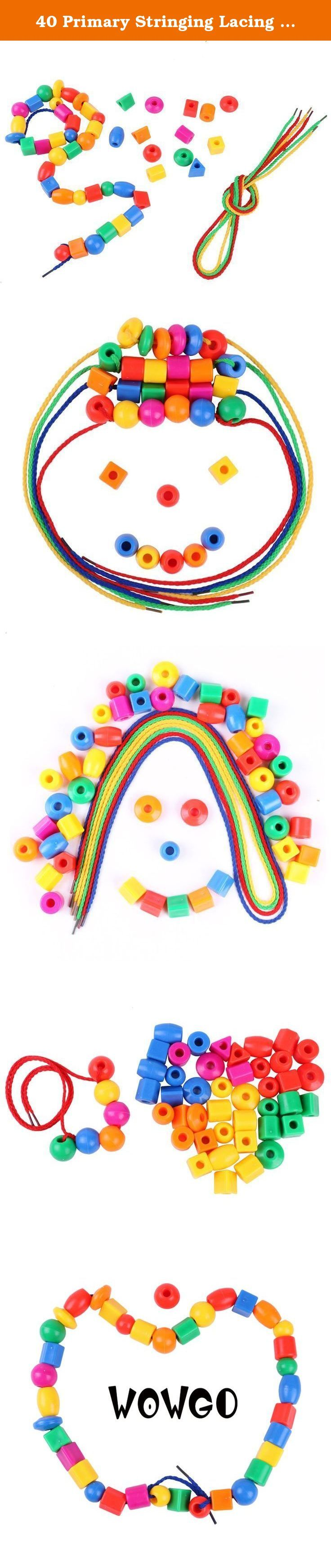 40 Primary Stringing Lacing Beads for kids,Includes 8 Strings, Montessori Toys for Fine Motor Skills Autism OT. ★100% MONEY GUARANTEE: we offer superb educational toys and excellent customer service and if you're not totally satisfied with your purchase; we also offer a risk-free, No-Questions-Asked, 100% Money-back Guarantee! Click the orange button to order now!.