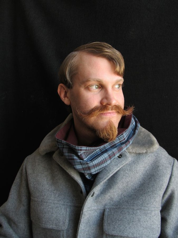 Alex Castle in a cotton plaid and corduroy scarf by http://thescarfmoment.com