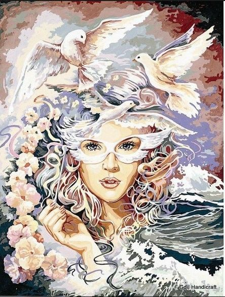 """Needlepoint Tapestry FLEUR D'ECUME - SEG de Paris 24""""x32"""" (60x80 cm)"""