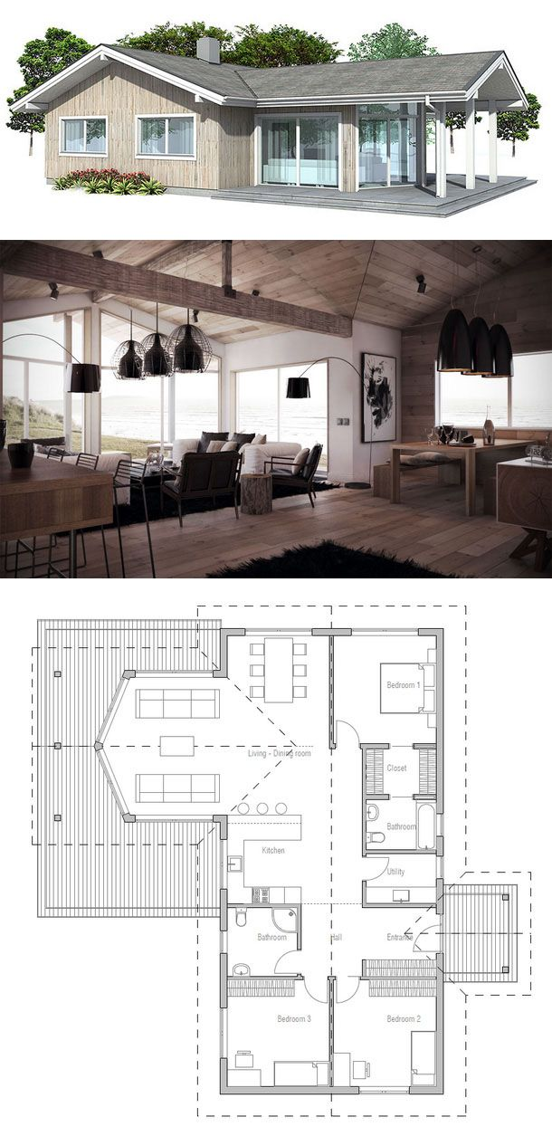 Perfect 1464 Sq Ft House Plan With Vaulted Ceiling In Living U0026 Dining Area.  Covered Terrace, Three Bedrooms, Two Bath U0026 Utility/laundry/pantry Room.