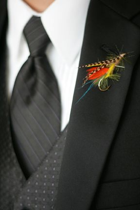boutonniers from fishing lures | Fishing lure bout wedding bee