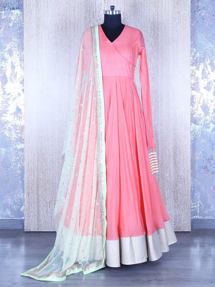 Plain Pink Anarkali Suit