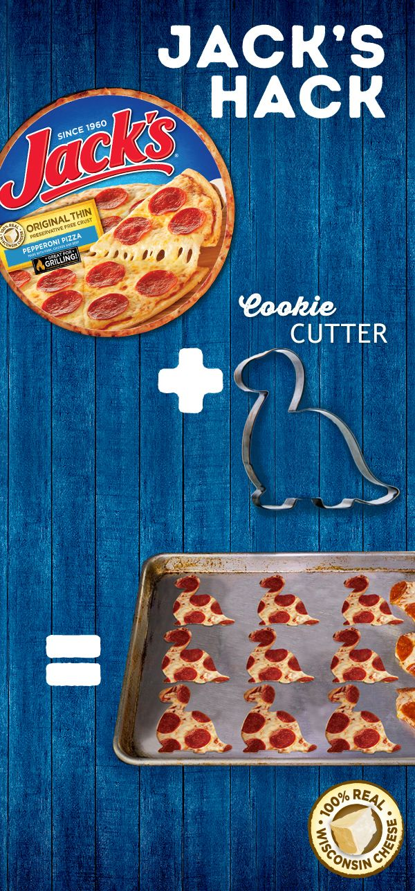 Chances are, pizza night is already a big hit in your house. But why not turn it up a notch? Use the wackiest cookie cutter in your cupboard to turn your pizza into fun-shaped pizza bites. All you need to do is take a cookie cutter to a freshly baked JACK'S pizza. These dinosaur/heart/bunny shapes are sure to make your family smile-especially since pizza bites deliver the same great taste and 100% Real Wisconsin Cheese that everyone...well, loves.