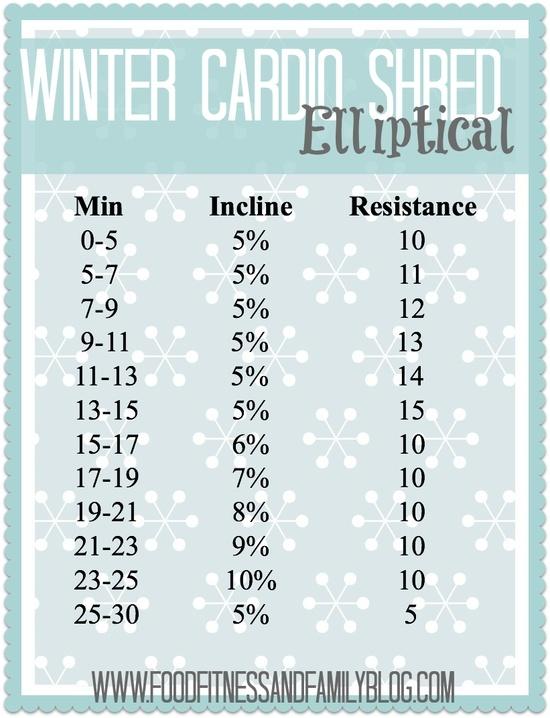Winter Cardio Shred Elliptical Workout  via @Madeline G