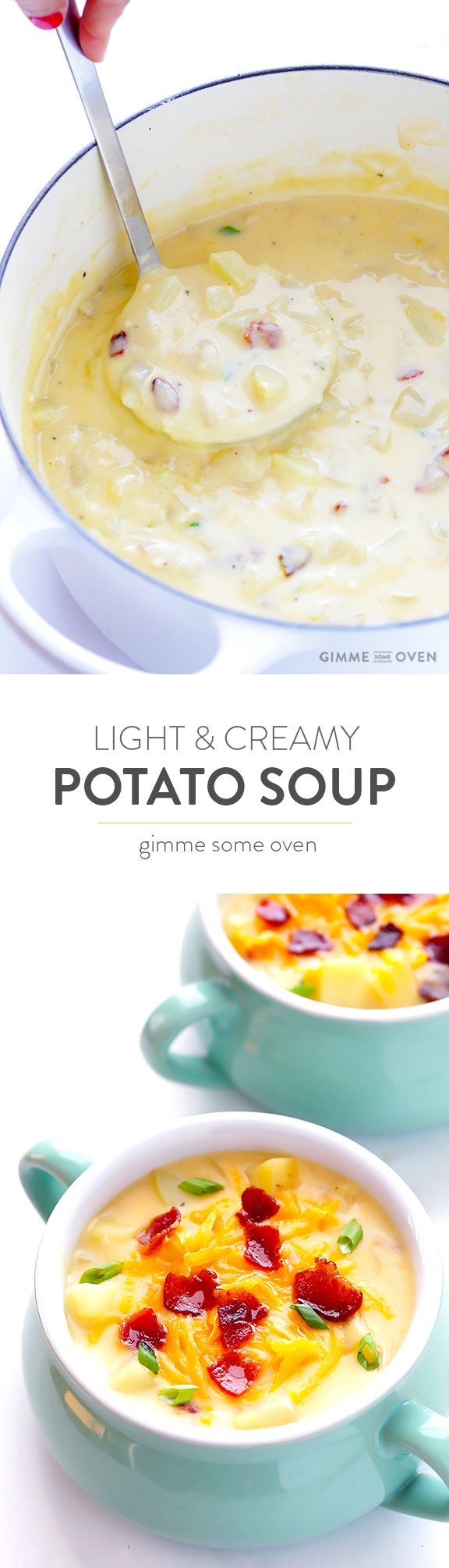 My all-time favorite Potato Soup recipe!  It's quick and easy to make, totally delicious and rich and creamy, yet it's lightened up with a few simple tweaks.  (No heavy cream required!) | gimmesomeoven.com