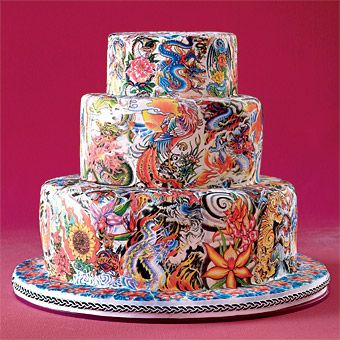 An Inspiration cake (without a recipe) Two bakers, one mission: to decorate a cake with a collage of edible tattoos. Fondant cake. Click pin for more info on bakers.