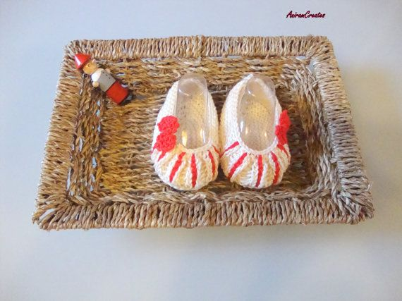 Hand Knitted Baby Ballerina Style Cotton Pumps  by AniramCreates, £9.99