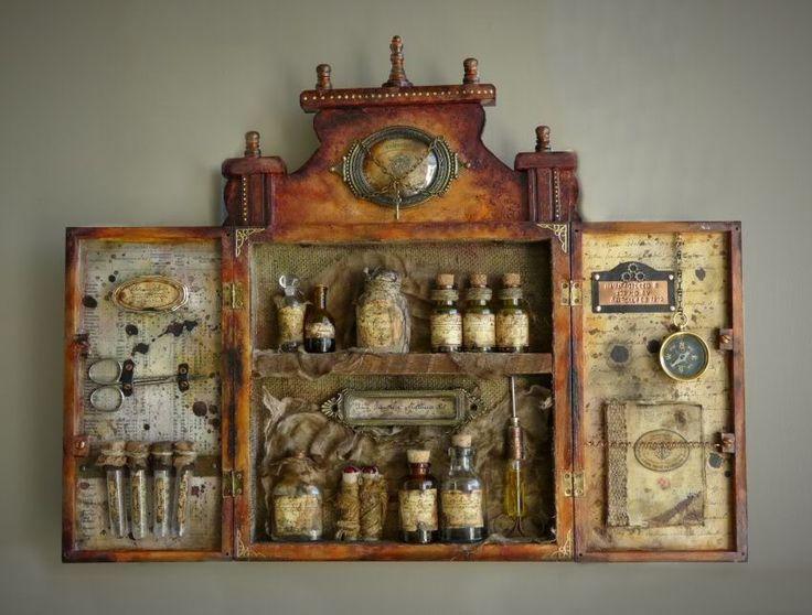 Maravilloso armario botiquín de viaje (Traveller's Apothecary Kit) de 1872