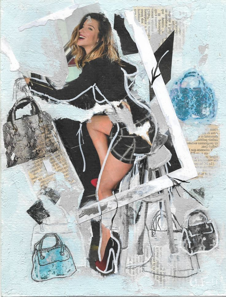 Caroline... Serie Fashion Girl, Acrílico, Fotografía, pastel sobre papel (Pittura).  #Scketch, #Collage #Collageart